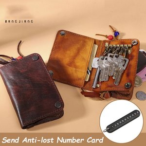 genuine leather key bag card holder personality leather integrated multi-function household car key bag wallet two-in-one C1115