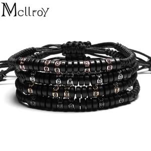 Mcllroy Pave Black CZ Zircon Connector & 7mm Coconut shell Bead Braiding Men Macrame Hand-woven Bracelets Mens &Women