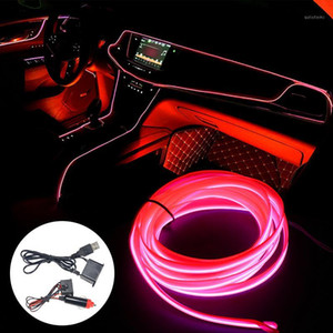 5M Car Interior Lighting Neon Light EL Wire Rope Tube Ambient LED Strip Decoration Garland Wire flexible Tube 8 Colors Auto Led1