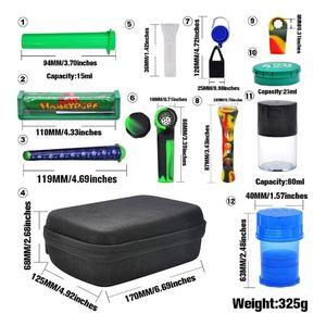 Premium-Tabak-Tasche Set Plastikraucher-Raucher-Kräuter-Kräuter-Speicher-Jar-Metall-Zinn-Silikon-Rauchrohr ein Hitter-Dugout-Rollmaschine DHL