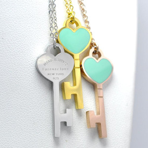 Love Jewelry Brand Short Necklaceforever Love Stamp Chains Necklace Choker Enamel Double Heart Key Pendant Necklace For Women sqclzu