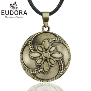 EUDORA Sound Harmony Ball Vintage Bronze Necklace Chime Bola Pendant for Women Fashion Jewelry Mexican Pregnancy Ball 20mm 45''
