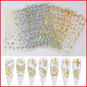 Holographic 3D Butterfly Nail Art Stickers Adesivi Cursori Colorati DA TE DA TE Golden Silver Nail Transfer Decalcomanie I fogli involontaria involucri decorazioni