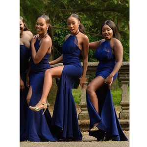 2021 Royal Blue Maid Of Honor Dress Halter Top Sexy high Side Split Pleated Chiffon Satin Long Bridesmaid Fomral Dress Party Wedding Guest