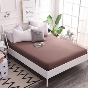 brown purple pink gray Cotton Fitted Sheet Mattress Cover with All-around Elastic Rubber Band Bed Sheet Hot Selling Bed Linens1