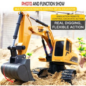 1:24 6CH Metal Excavator Charging RC Car 270 Degree Rotation Alloy Bucket Remote Control Vehicle Sound Light Truck Model Kids Toys