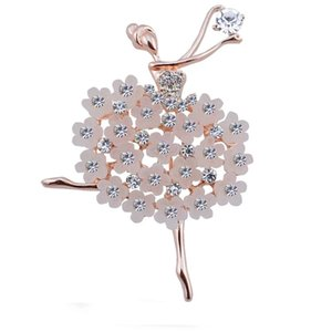 Exquisite Multicolor Crystals Pretty Flower Skirt Ballet Brooch Women Girls Gift Pins Broach Retro Suit Decorative Pin