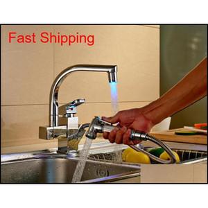 Colore LED Charking Chrome Kitchen Faucet Tirare fuori becco Mixer Qylwqi Toys2010