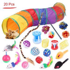 20 PZ / Set Cat Toy Assortmenti Gattino Giocattoli Interactive Giocattoli Piuma Bacchetta Tunnel Tunnel Creinca Ball Mice per cucciolo gatti JK2012XB