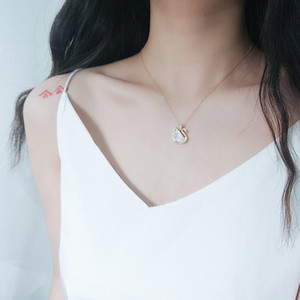 S925 Sterling Silver Friar Swan Collar versátil Cáscara Clásica Blanco Cisne Colgante Cadena de clavícula Adornos de plata