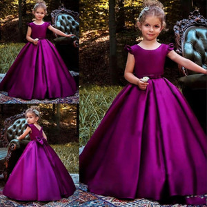 2019 Princess Satin Girls Pageant Dresses Cap Sleeves Ssh Back Bow Floor Length Flower Girl Dress Formal Wear Kids christmas Birthday Dress