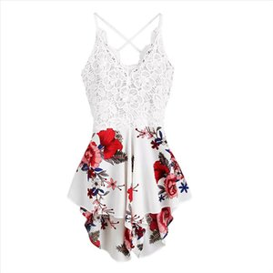 Sexy Playsuit Womens Summer Crochet Lace Panel Bow Tie Back Florals Ladies Summer Shorts Jumpsuit Rompers Women 2020 BL4