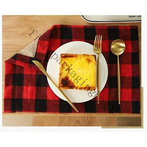 Plaid Table Mat Placemat Red Black Plaid Table Cutlery Christmas Decoration Place Mat Tablecloth Xmas Home Party Decorations 2020J