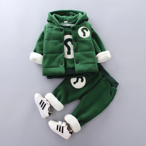 Winter Children's Clothing Solid Color Suit Boys Baby Children Long-Sleeved Letter Suit Single-Breasted Vest Sweater Pants 3pcs