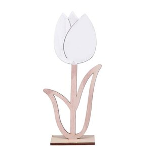 1PC Hollow Creative Wooden Tulip Crafts Ornaments DIY Flower for Desktop Gift Easter Home Decoration Party Supplies