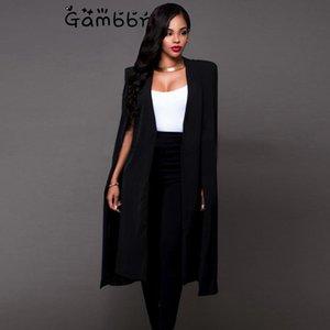 Женские костюмы Blazers Plus Размер Англии Стиль плащ накидка Длинные Blazer Сплошные Женщины Одежда Мода Свободные Причины 2021 Осень Черный Белый Джек