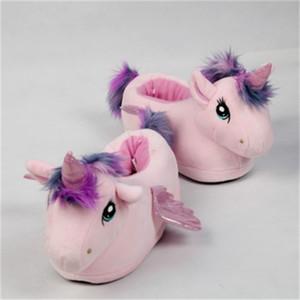 FAYUEKEY Women Cartoon pink Unicorn Girls Winter Plush Warm Home Indoor Shoes Slippers Cotton female ShoesZ1127
