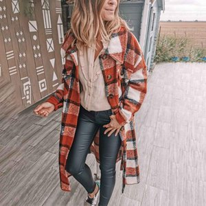 Women's Winter Wool Coat Plaid Print Outerwear Ladies Fashion Female Long Over-knee Lapel Padded Warm Clothes Woolle Coat#1127