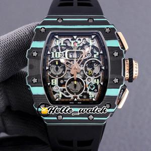 Nuevo RM011 Flyback Chrono ETA 7750 Cronógrafo automático Reloj para hombre RM11-03 Azul NTPT Caso de fibra de carbono Relojes de correa de caucho Hello_Watch Hwrt