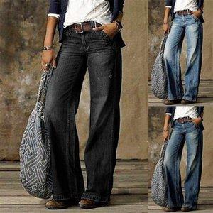 Retro Mid Rise Bolsos Largura Perna Calças de Jeans Solto Denim Calças Calças Calças Mulheres Roupas