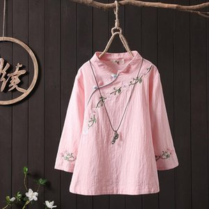 Plus size Women Blouses Floral Embroidery 3 4 Sleeve White Shirt Cotton Solid color Elegant Ladies Tops