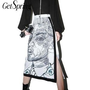 Getspring Women Skirt Split Print Character High Waist Long Skirts Color Matching Vintage Sexy All Macth print Skirts Women 2020 Q1117