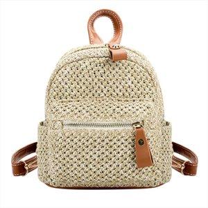 Straw Women Backpack Mini Shoulder Bags Weave Hollow Beach Girls Satchel Schoolbag Fashion Female Small Backpack Rucksack