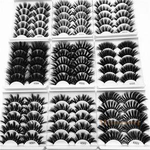 5pair / pack 25mm Faux Nerz Haarwimpern 3d Nerz Falsche Wimpern Criss-Cross-dicke 3D-Wimpernverlängerung Handgemachte Augen-Make-up-Werkzeuge