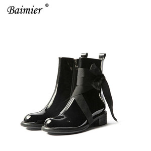 2020 Baimier Women Ankle Boots Motocycle Boots Women Heel Sexy Chain Chunky Heel Platform European Style Black Ankle