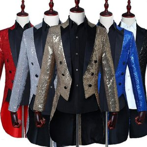 Mens 2021 Size New Plus Classic 5 Color Sequin Dress jacket Lapel Tail Coat Tuxedo Wedding Groom Stage Singer Men Blazers Suit
