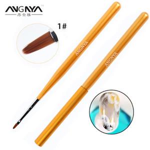 ANGNYA Gold Wooden Handle Nail Art Brush Acrylic Liquid Powder Painting Flower Petal Brush Carving Drawing Pen Manicure Tools
