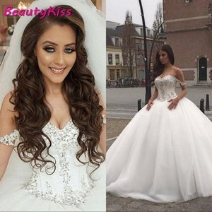 Bling Ball Gown Dresses 2020 Luxury Arabic Off Shoulder Beaded Dress Puffy Tulle Wedding Gowns Plus Size Q1110
