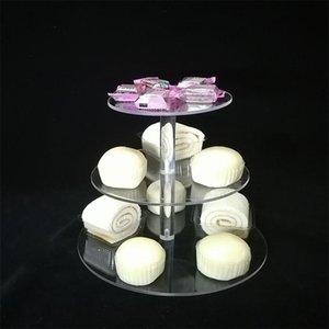 لوازم حفلات احتفالية أخرى حامل كعكة جولة الاكريليك 3/4 طبق كب كيك ستاند تجميع وتفكيك أدوات عيد ميلاد المنزل يقف decorati