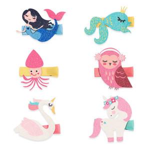 Cute Cartoon girls hair clips Unicorn baby BB clips Mermaid girls barrettes sequin handwork hair pin girls hair accessories B2876