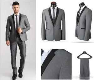 New Arrival Groom Tuxedos Black Lapel Best man Suit Light Grey Groomsman Bridegroom Wedding Prom Suits (Jacket Pants)