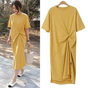 2021 novo 100% algodão plus size verão moda knotted design manga curta longa mulheres robe femme casual camiseta lvwh