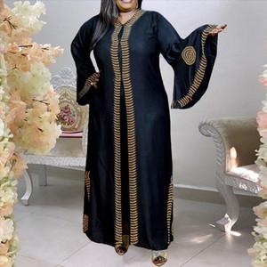 Artı Boyutu Afrika Kadınlar Elbise Vintage 2021 Sonbahar Flare Kollu Siyah Uzun Robe Femme Zarif Boy Baskı Parti Maxi Vestidos