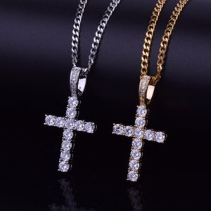 Iced Out Zircon Cross Pendant with 4mm Tennis Chain Necklace Set Men's Hip
