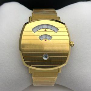 Высокое качество моды 38 мм унисекс женщины мужские часы кварцевые движения золотые наручные часы из нержавеющей стали Montre de luxe оригинальные часы