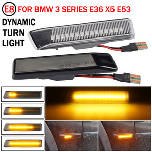 Car Front Wing Smoke Lens Dynamic LED Side Marker Repeater Indicator Light 63132492179 63137164491 For BMW X5 E53 E36