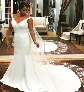Simple Satin Mermaid Wedding Dresses African Off Shoulder Women Dresses Sexy Backless Long Wedding Party Dress Plus Size