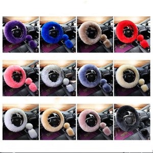 Universal Car Steering Wheel Covers Solid Color Long Faux Wool Fur Gear Shift Cover Warm Hand Brake Sleeves Fit Interior Decor 3pcs 32ycaE1