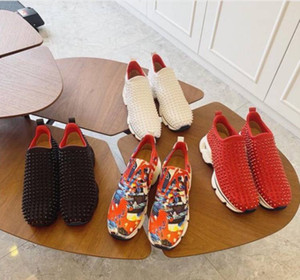Krystal Spike Sock Donna Flat Sneakers Designer Men Red Sole Shoes Women's Rivet Pointed Socks Junior Spikes Flats
