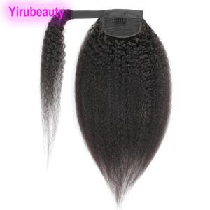 Peruano brasileño 100% humano cabello cabello bucle rizado rizado 8-24 pulgadas colaísimas vírgenes pelo rizado recto pony cola extensiones de cabello