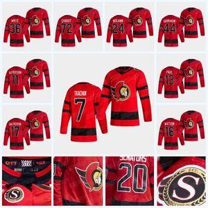 18 Tim Stuetzle Brady Tkachuk Ottawa Senators 2021 Saison Jersey Thomas Chabot Matt Murray Bobby Ryan Duclair Craig Anderson Ron Hainsey