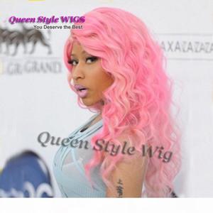 Celebridade nicki minaj penteado peruca, qualidade superior profunda onda encaracolado único cor rosa cabelo sintético perucas dianteiras para mulher negra