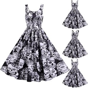 #H40 Skull Print Halloween Dress Women Vintage O Neck Sleeveless Evening Party Dresses For Women Tank Sexy Mid-calf Dress