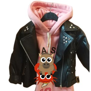 girls leather jacket PU jacket for children 2-7 year old fashion leather, motorcycle Cool wild rivets Metal rock england outwear 201118