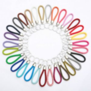 jewelry Mix color PU Leather Braided Woven Keychain Rope Rings Fit DIY Circle Pendant Key Chains Holder Car Keyrings Jewelry 95211