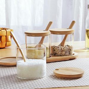 Botella de condimento de estilo japonés de estilo de bambú y tapa de madera Tarro de condimento de condimento redondo Tarro de almacenamiento con cuchara de bambú